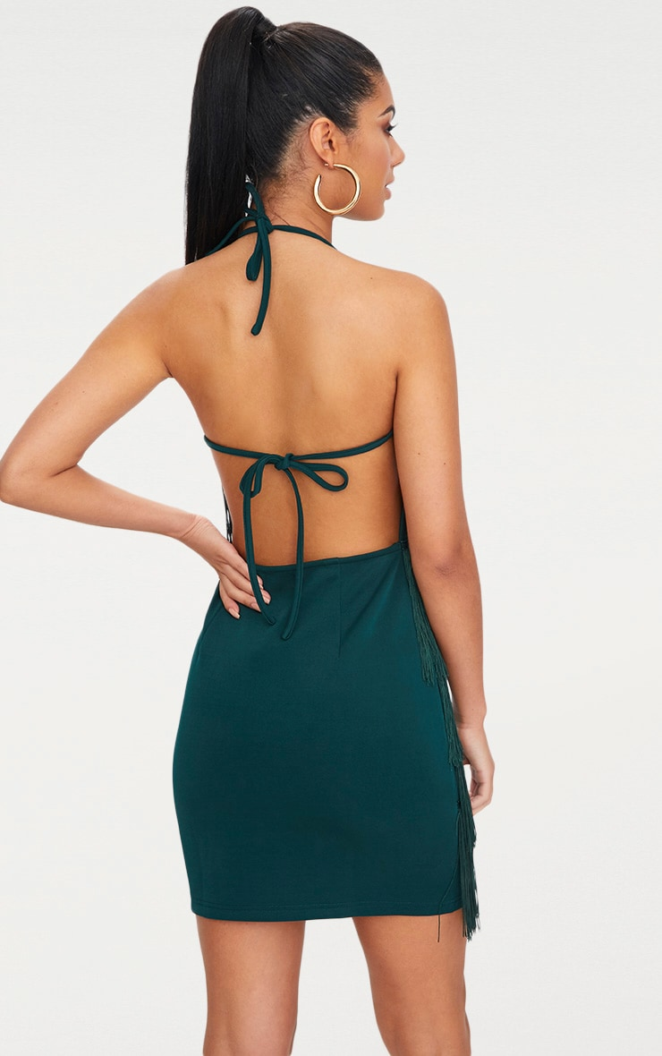 Emerald Green Tassel Detail Halterneck Bodycon Dress 2
