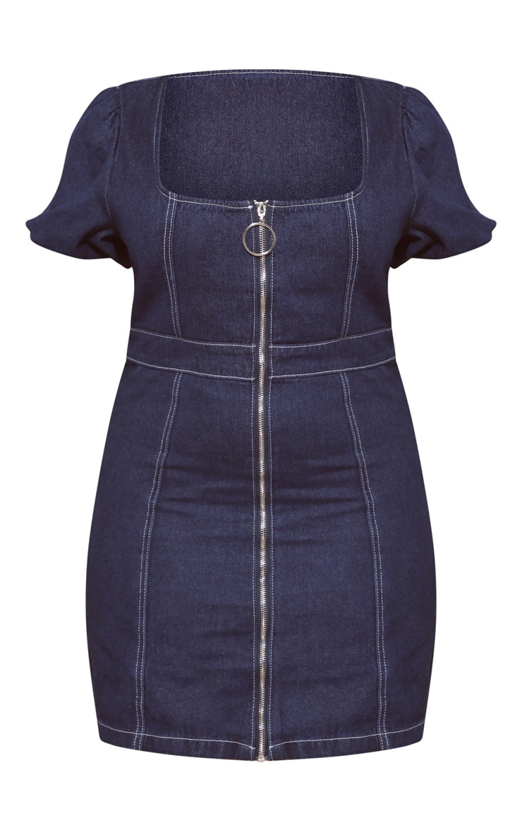 Plus Mid Wash Square Neck Puff Sleeve Denim Bodycon Dress 3