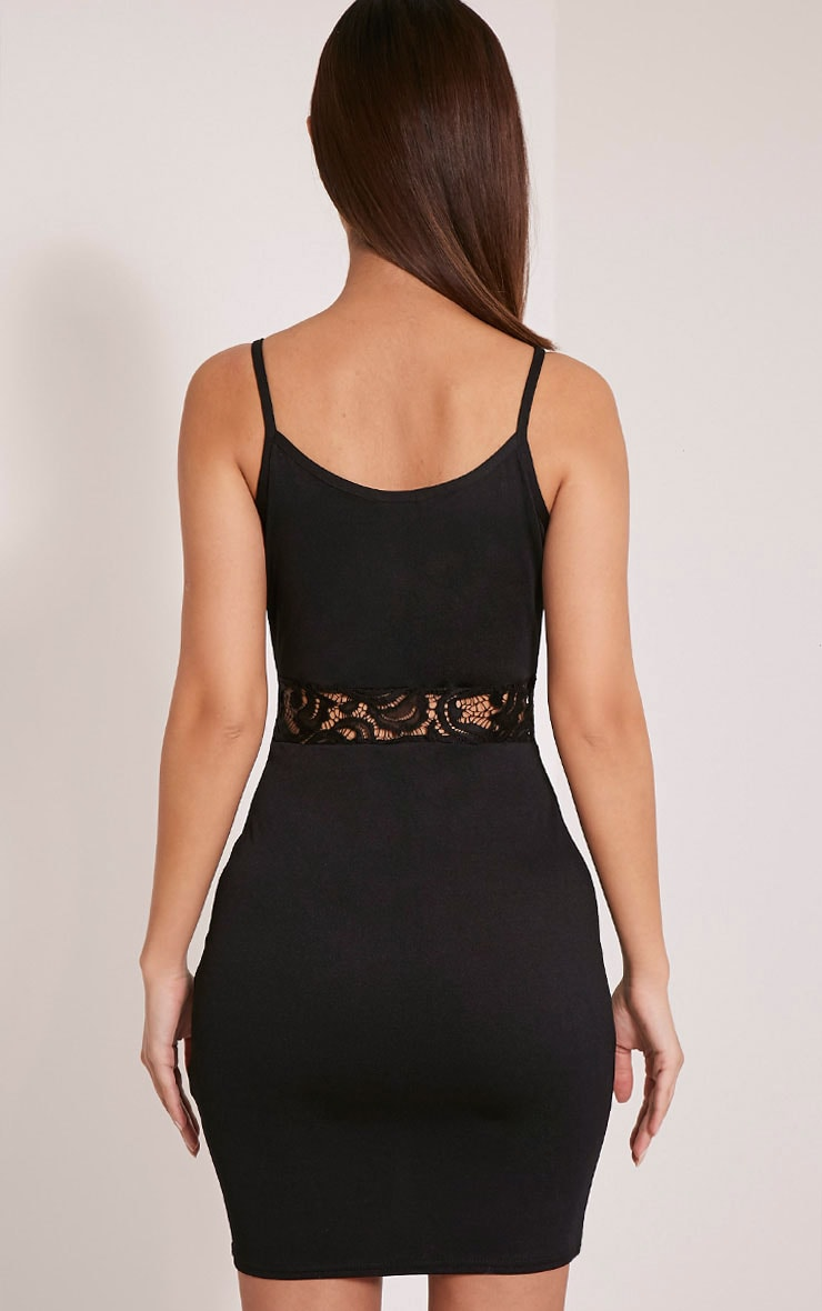Mae Black Strappy Lace Insert Bodycon Dress 2