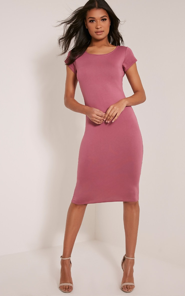 Basic Rose Capped Sleeve Midi Dress 1