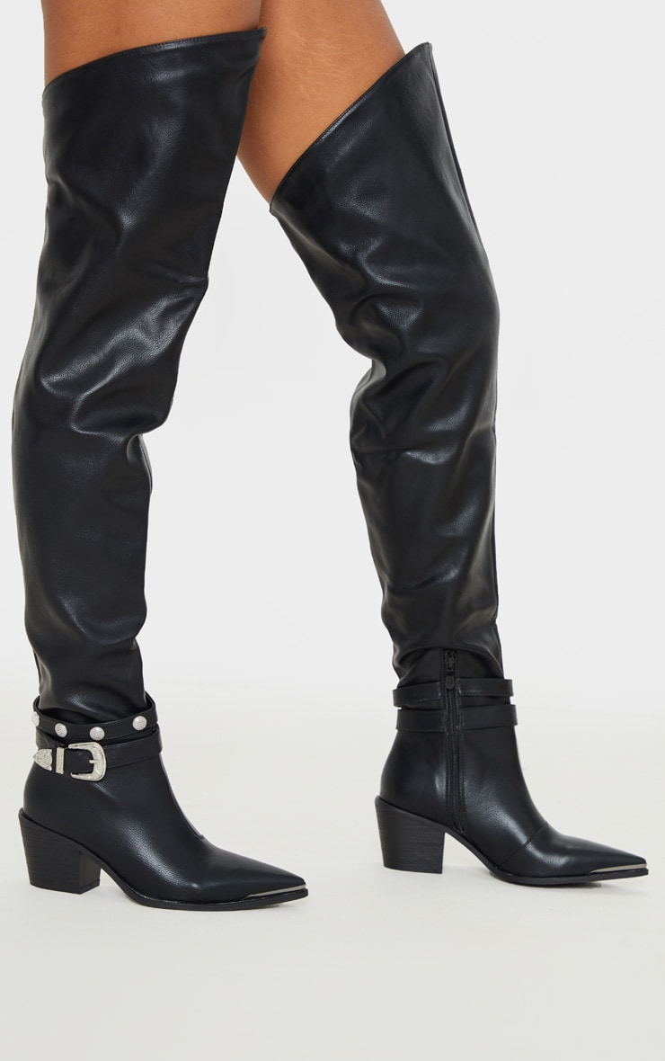 Black Thigh High Studded Buckle Western Boot 2