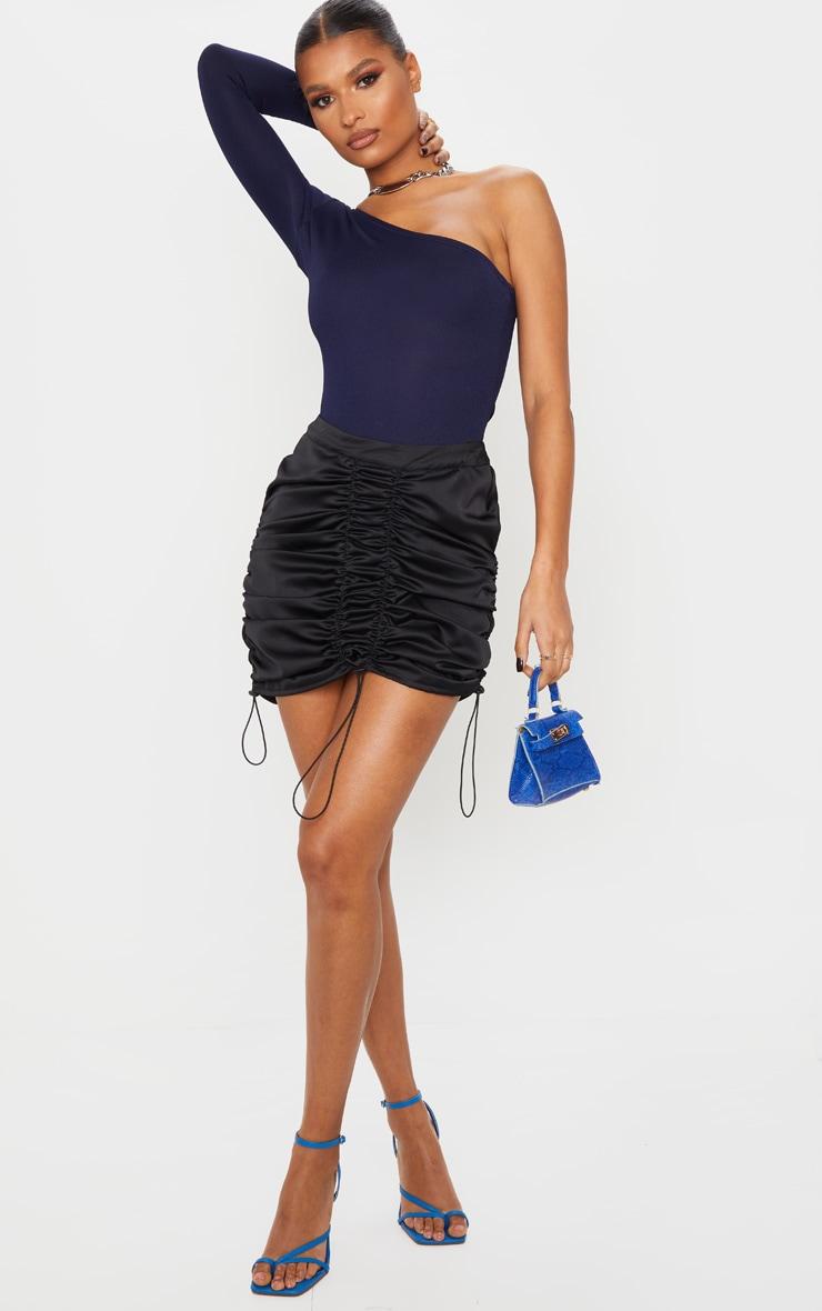 Black Satin Ruched Detail Toggle Mini Skirt 5