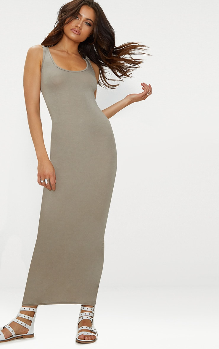 Taupe Basic Maxi Dress 1