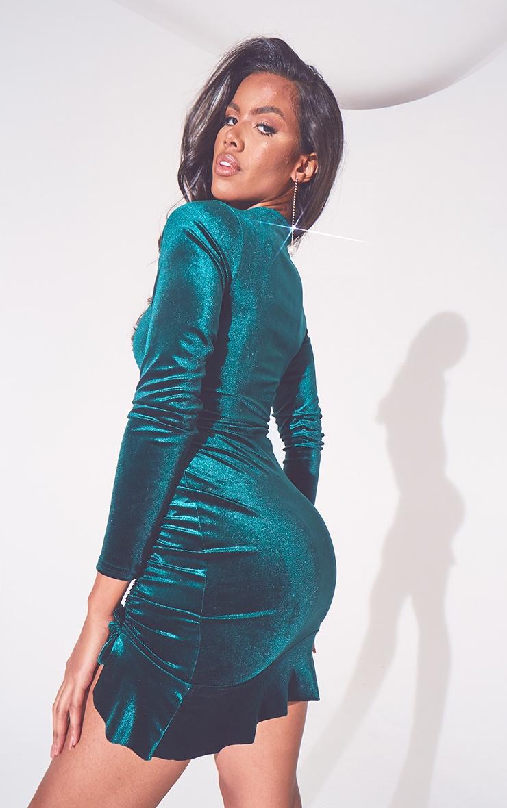 Emerald Green Velvet Ruched High Neck Frill Hem Bodycon Dress 2