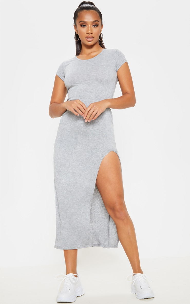 Petite Grey Marl Jersey T Shirt Midi Dress 1