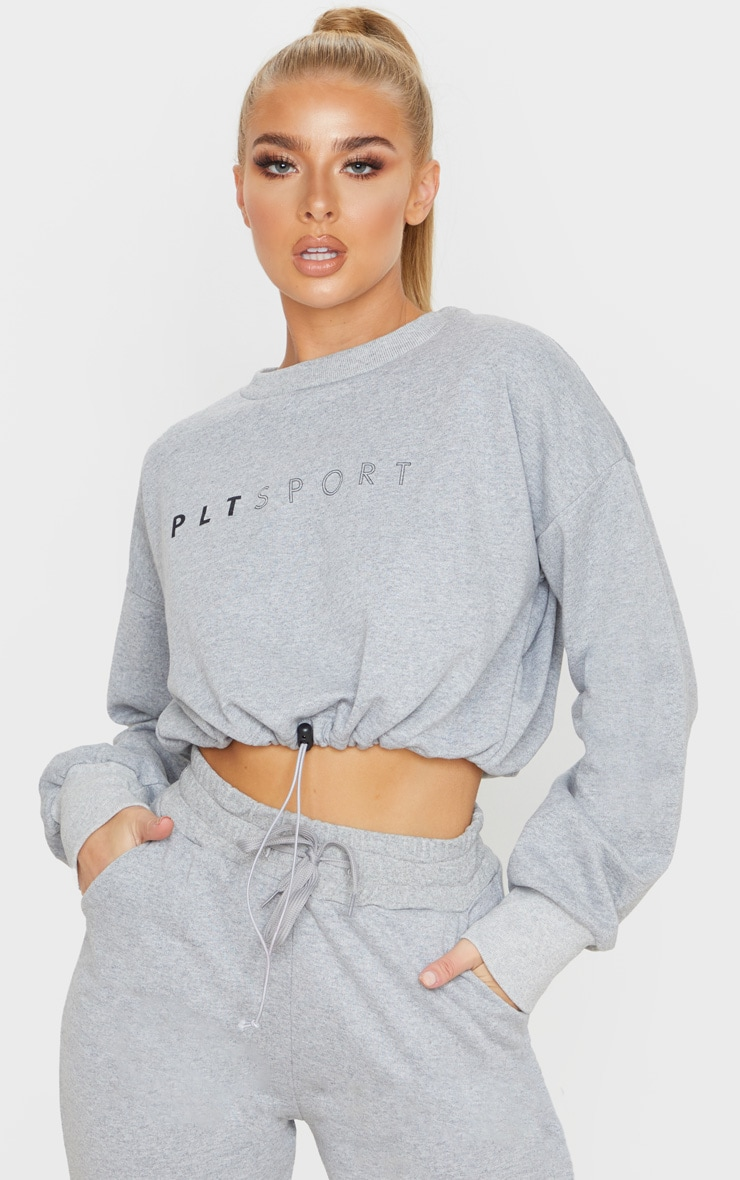 PRETTYLITTLETHING Grey Basic Gym Sweat Top 1