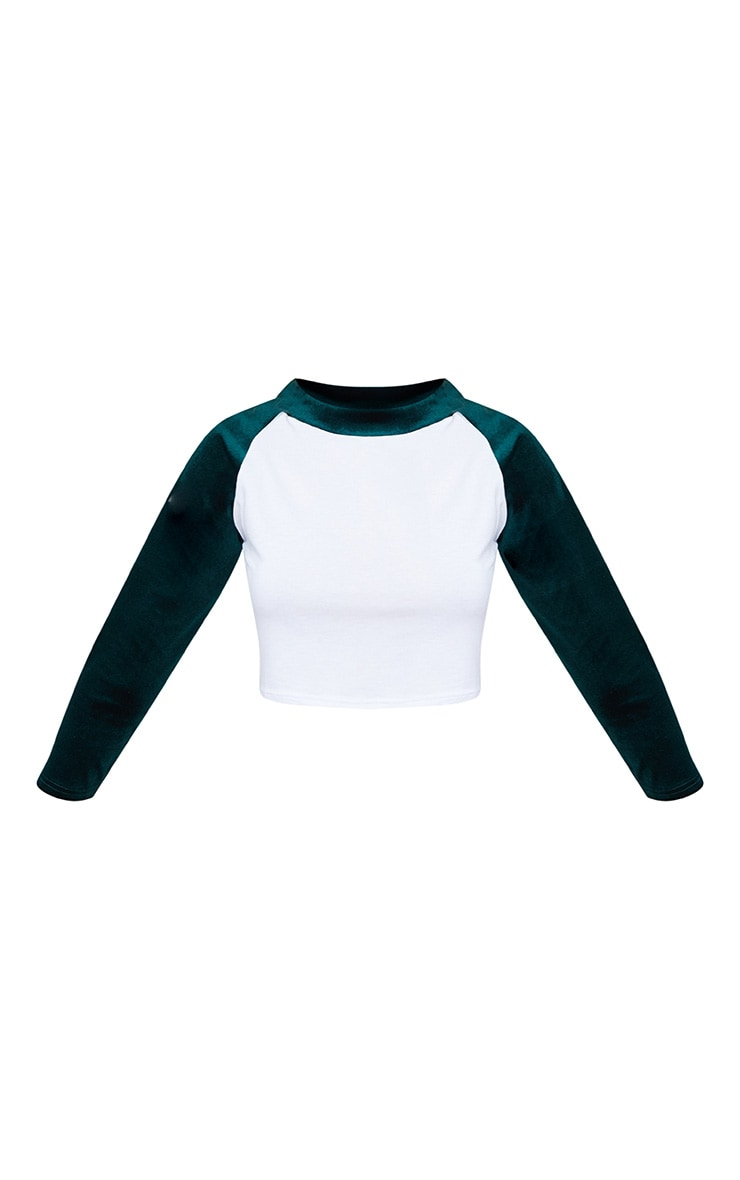Bottle Green Contrast Raglan Velvet Sleeve Crop Top  3