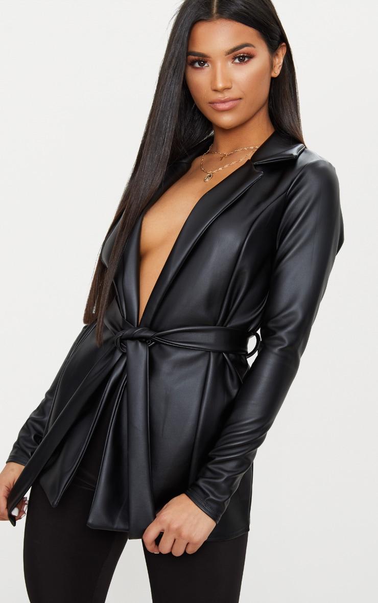 Black PU Belted Blazer  1