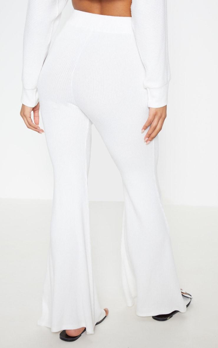 Cream Soft Rib Flare Leg Pants 5