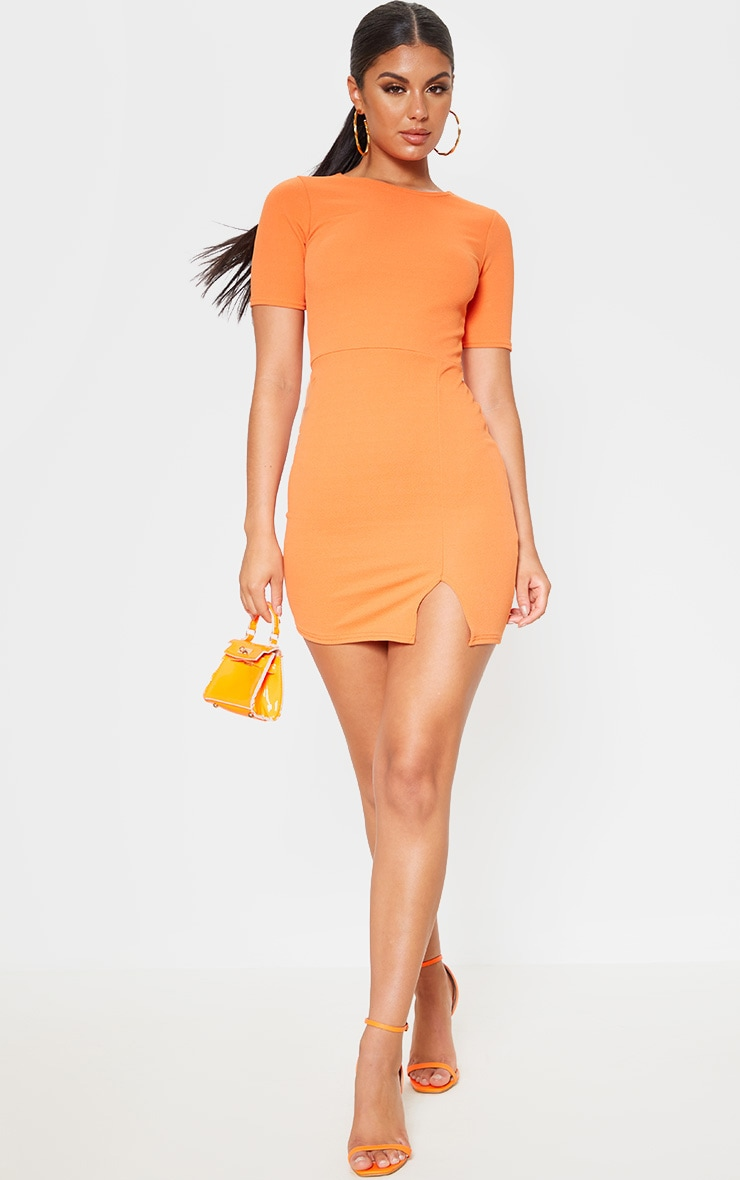 Orange Split Detail Short Sleeve Bodycon Dress 4