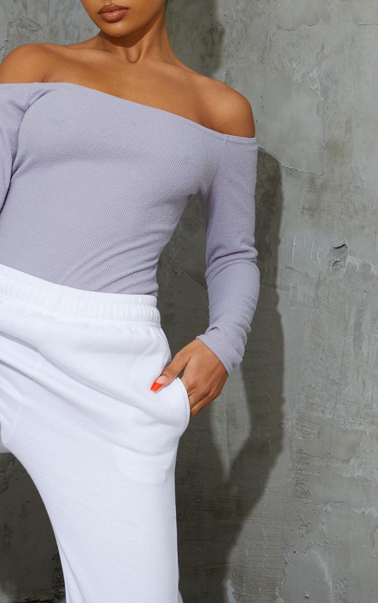 Ash Grey Bardot Brushed Rib Bodysuit 4