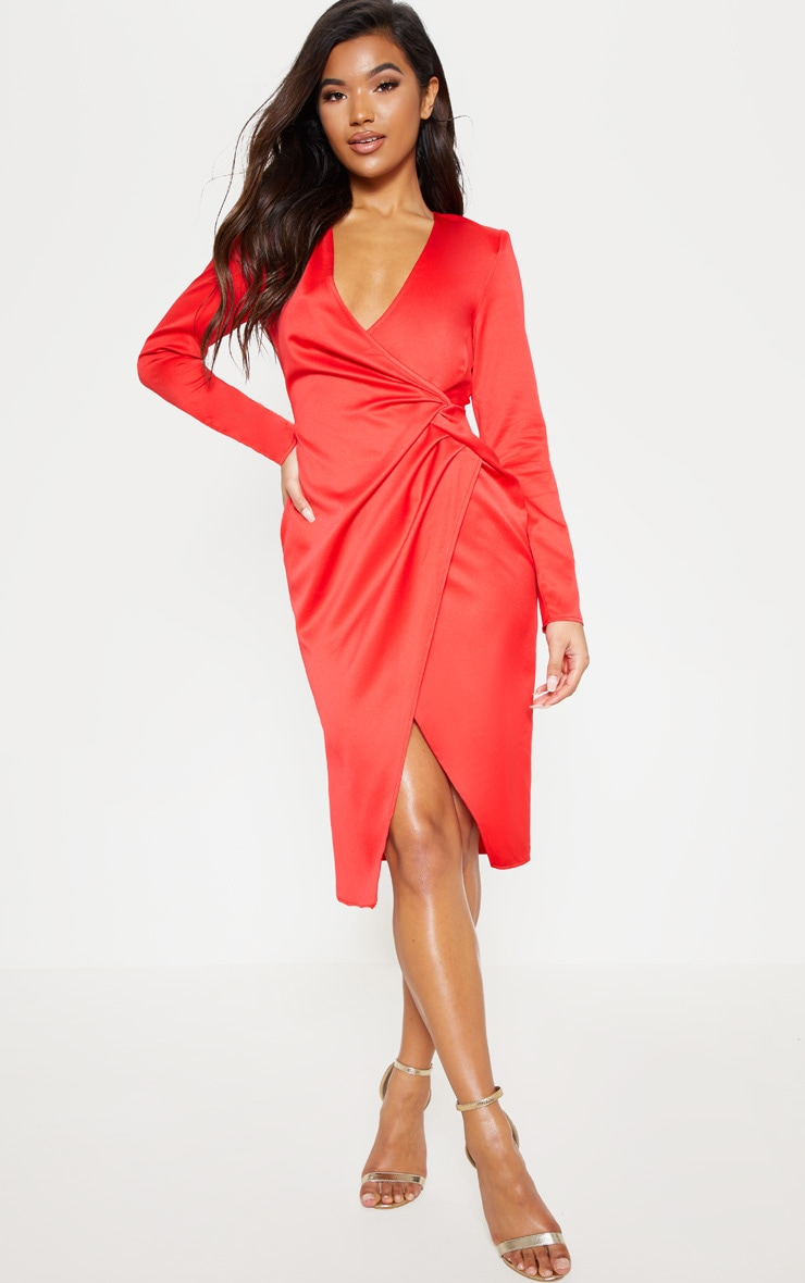 Red Drape Pleated Detail Midi Dress