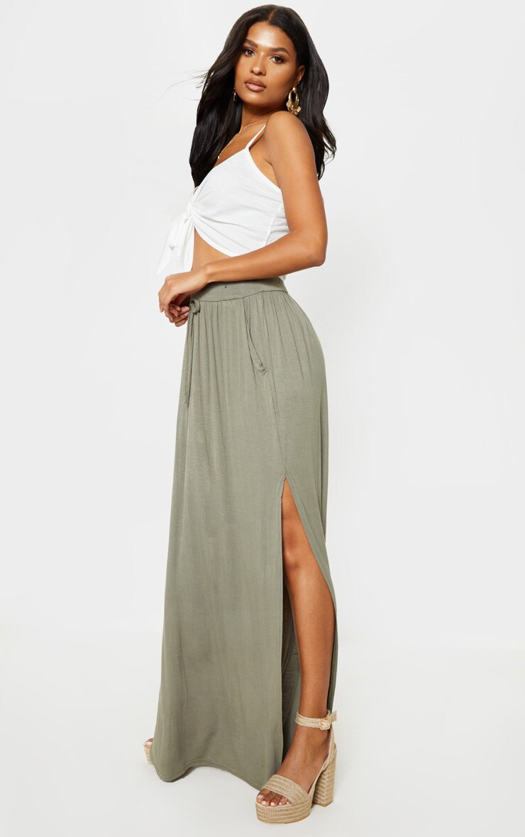 Olive Jersey Drawstring Maxi Skirt 5