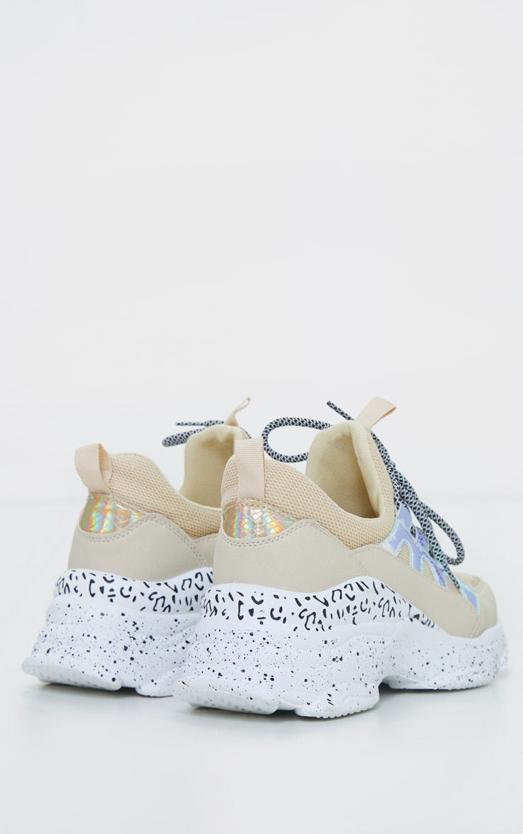 Sand Chunky Detail Sole Contrast Lace Sneakers 4