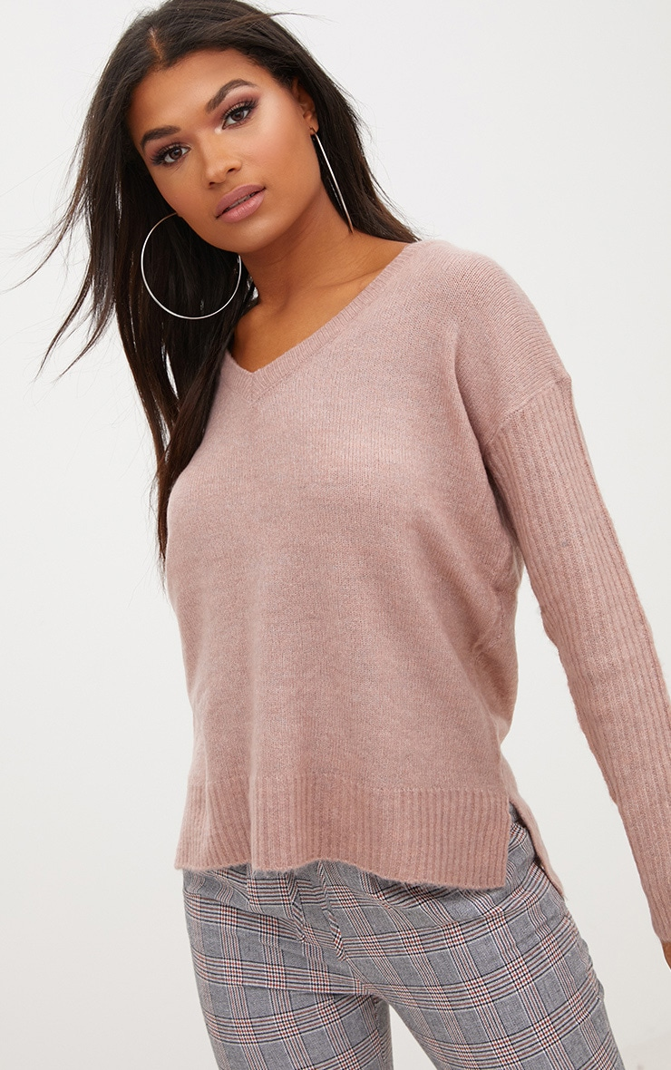 Pink Drop Shoulder Rib Sleeve Jumper 1