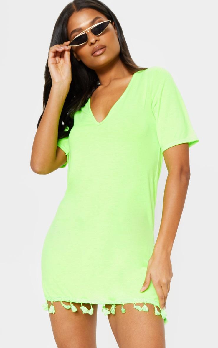 Neon Lime Tassel Trim T Shirt Dress 4