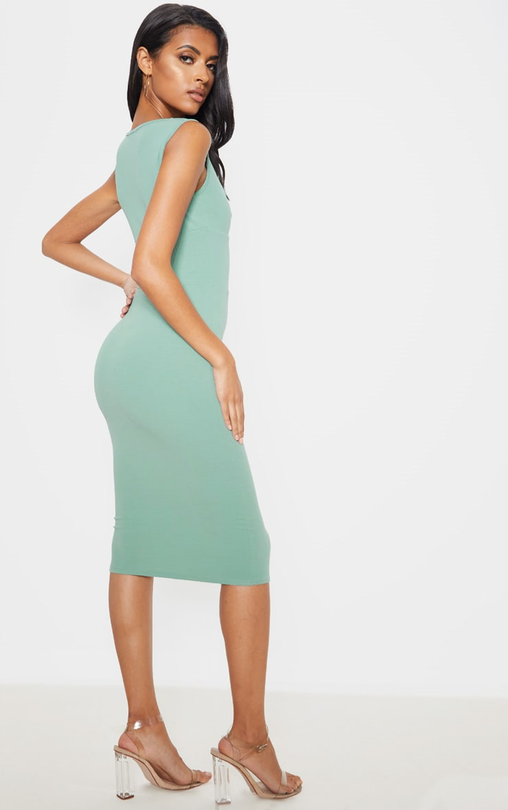 Sage Green Knot Front Plunge Bodycon Dress 2