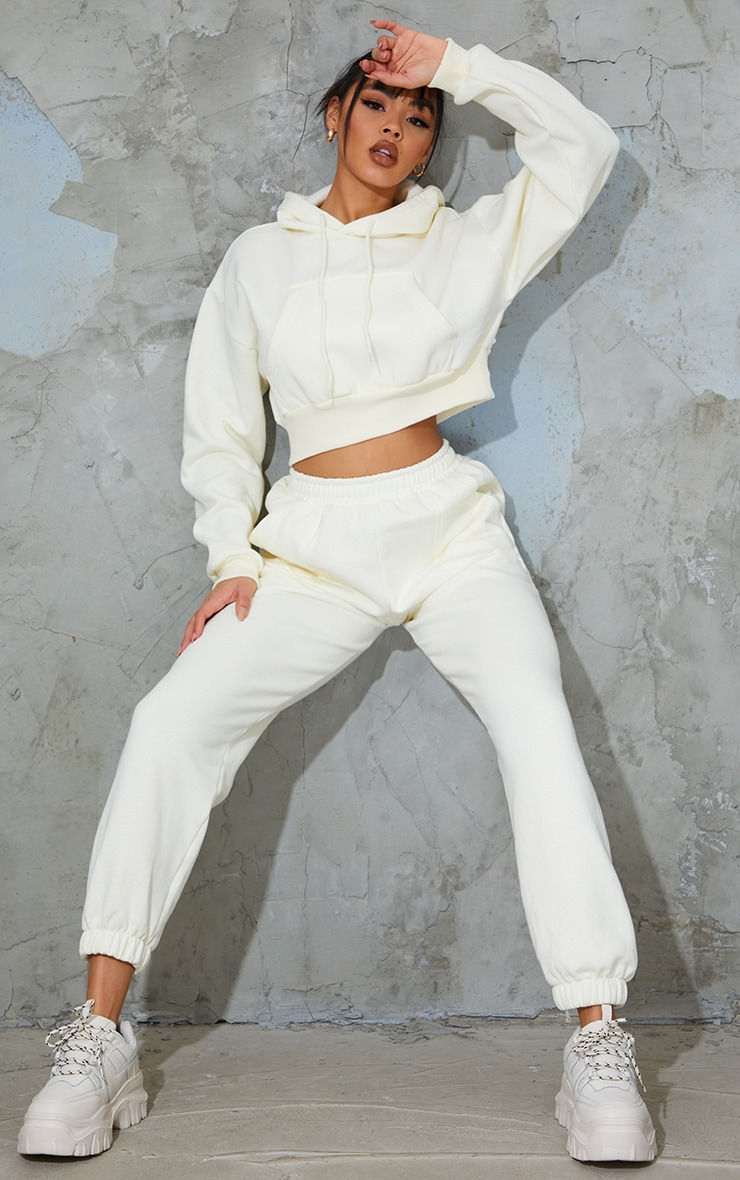 Cream Pocket Front Cropped Hoodie 3