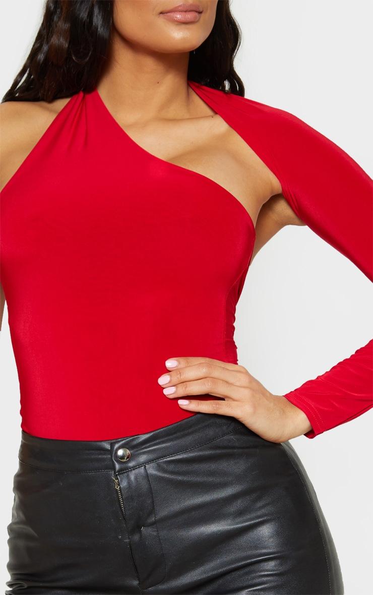 Red One Shoulder Asymmetric Bodysuit 6