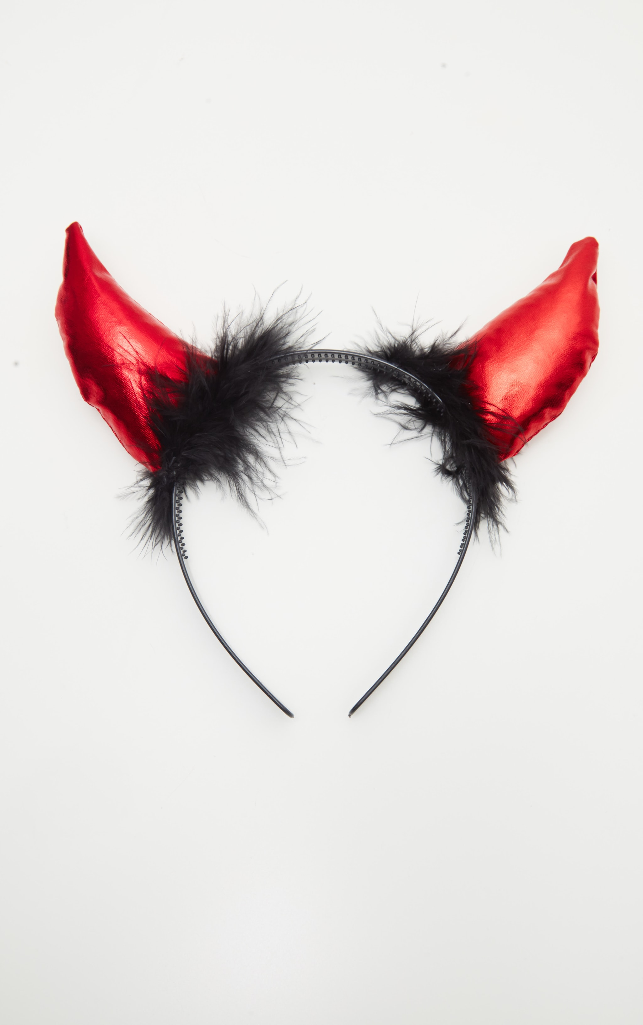 Red Fluffy Devil Horns Headband 2