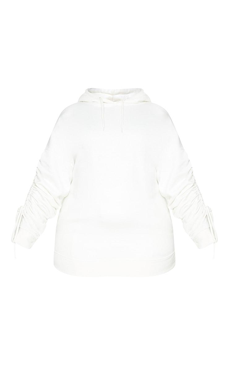 Plus Cream Ruched Sleeve Hoodie 5