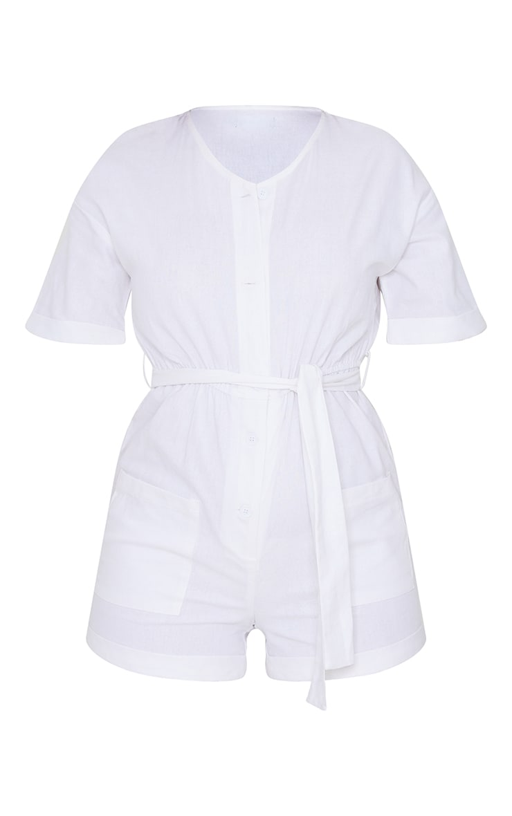 White Linen Look Short Sleeve V Neck Shirt Romper 5