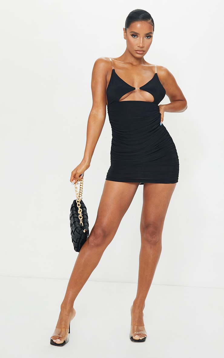 Black Slinky Clear Strap Detail Cut Out Ruched Bodycon Dress 3
