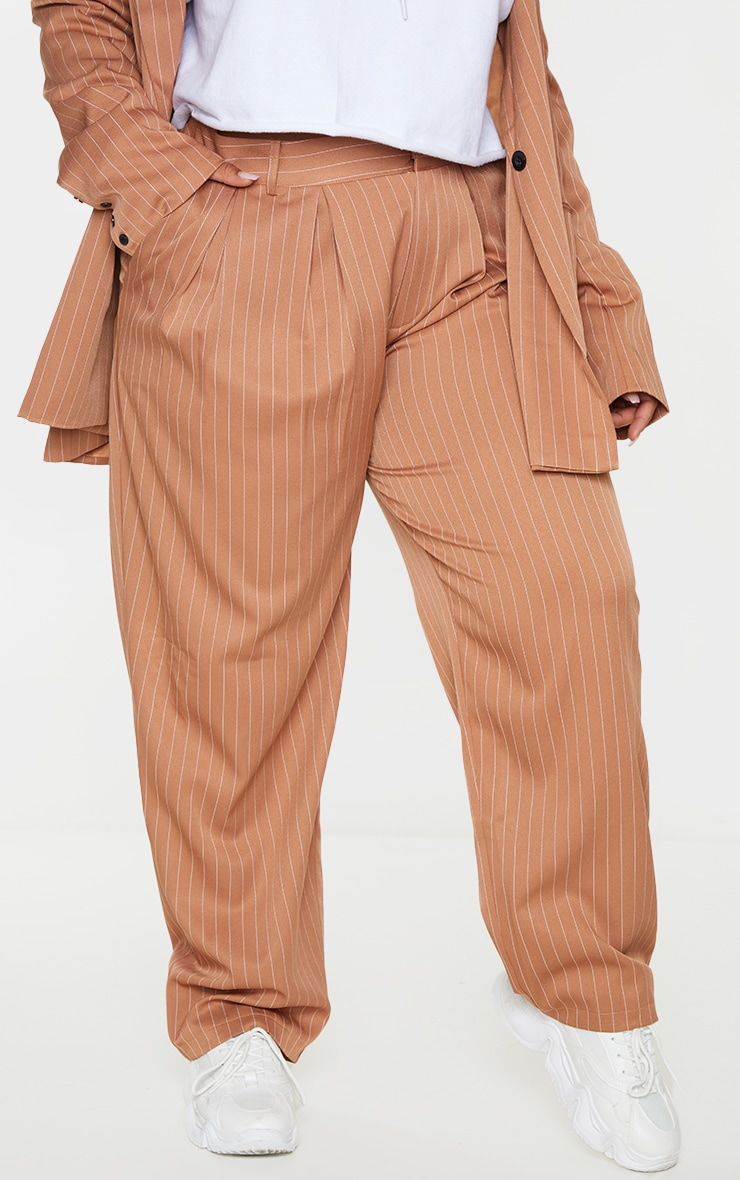Plus Brown Pinstripe Woven High Waisted Cigarette Pants 2