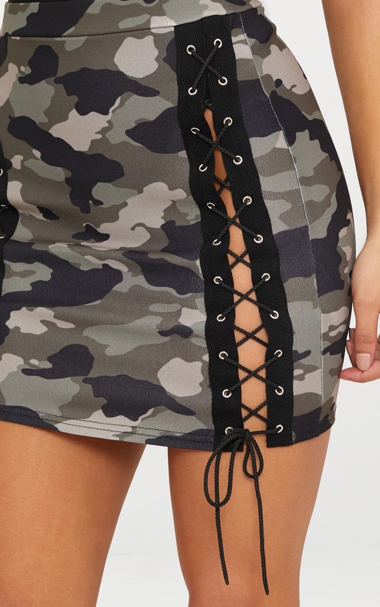 Khaki Camo Print Lace Up Front Mini Skirt  6