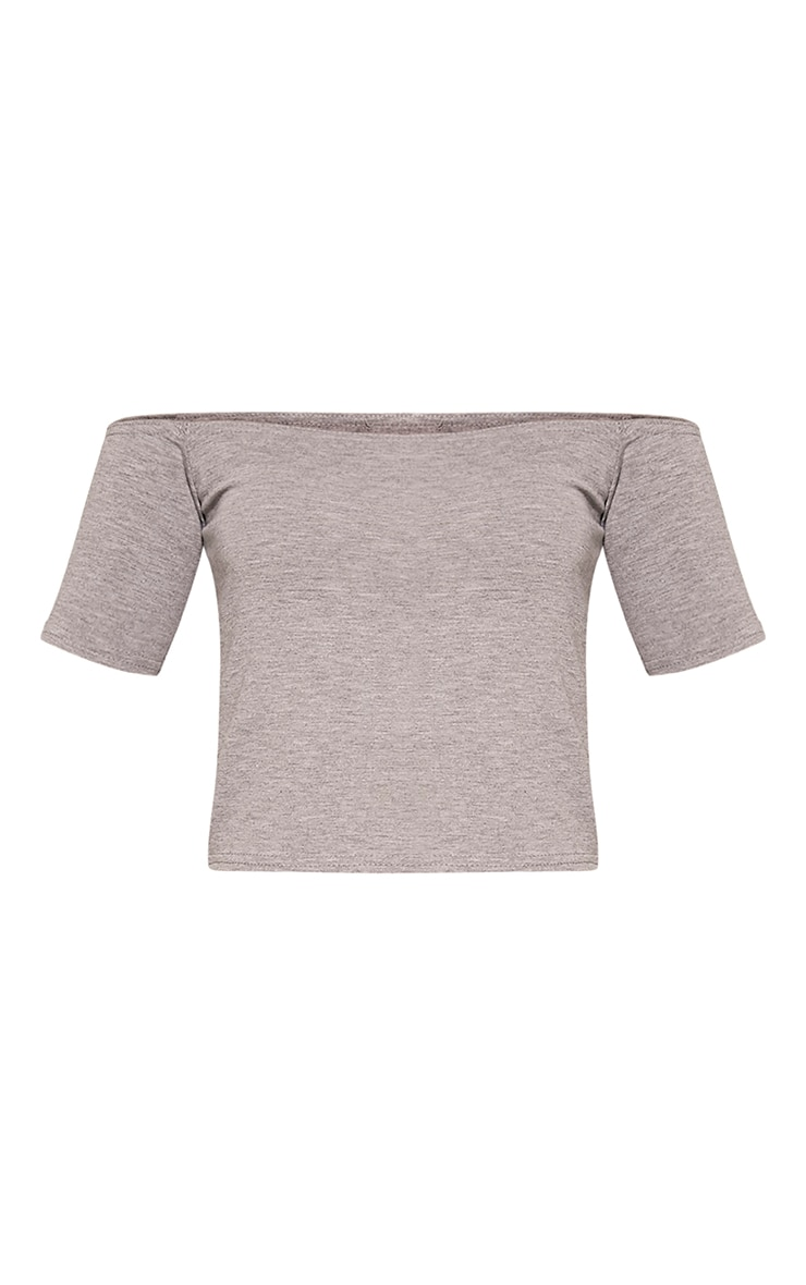 Basic Grey Bardot Crop Top 3