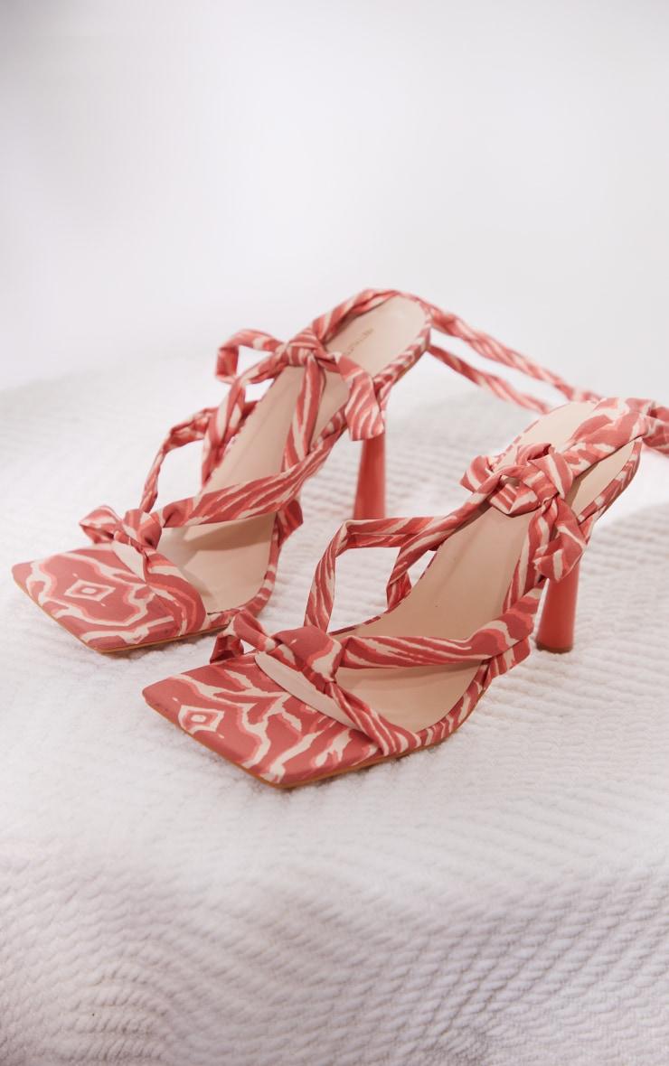Peach Zebra Tie Strappy Heeled Sandals 3