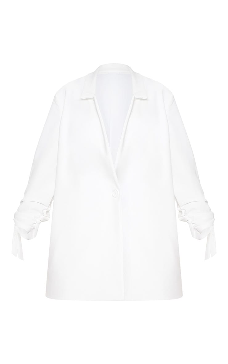 White Ruched Sleeve Blazer 3