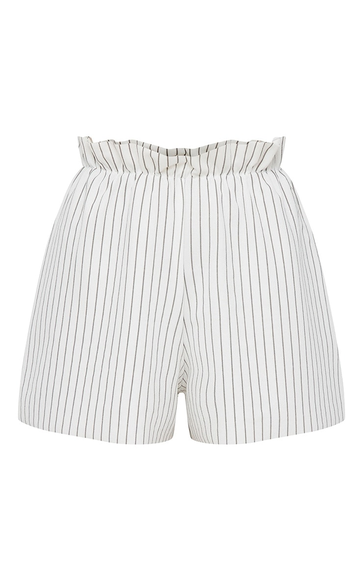 White Ruched Stripe Waist Floaty Shorts 3