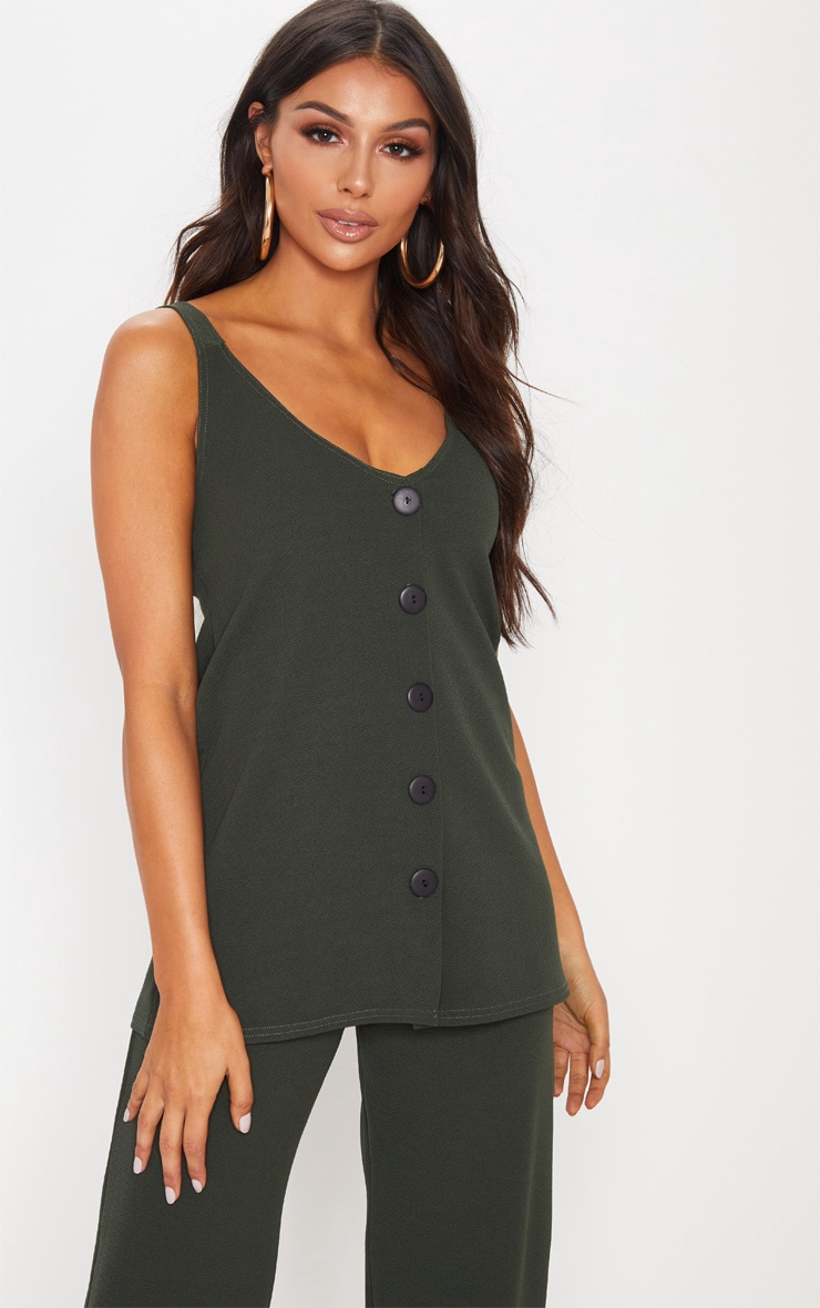 Khaki Longline Button Detail Cami Top