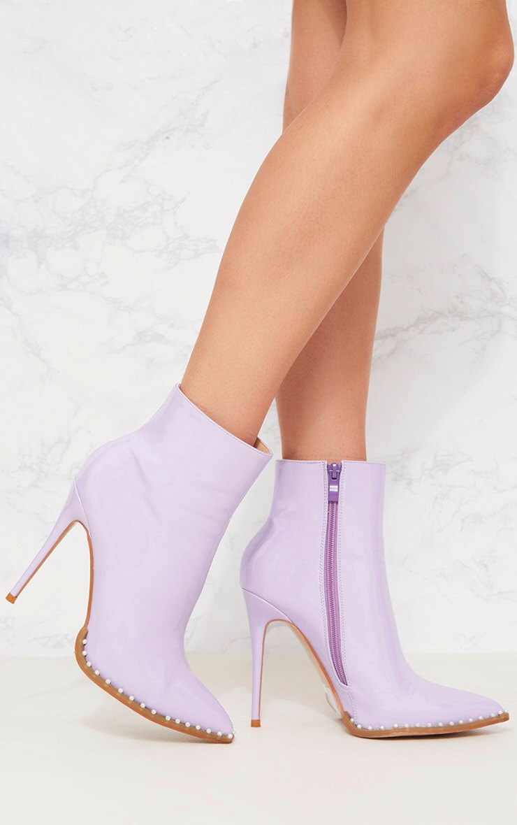 Lilac Pearl Embellished Ankle Boot