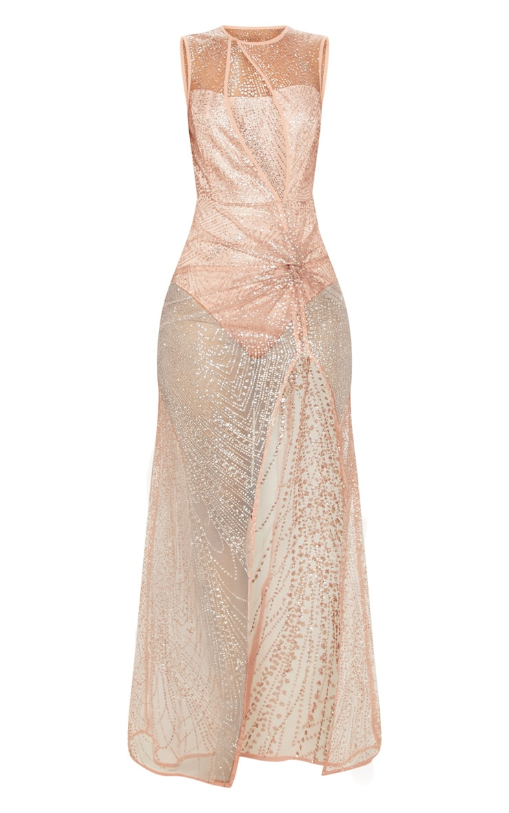Rose Gold Glitter Sheer Extreme Split Maxi Dress 3