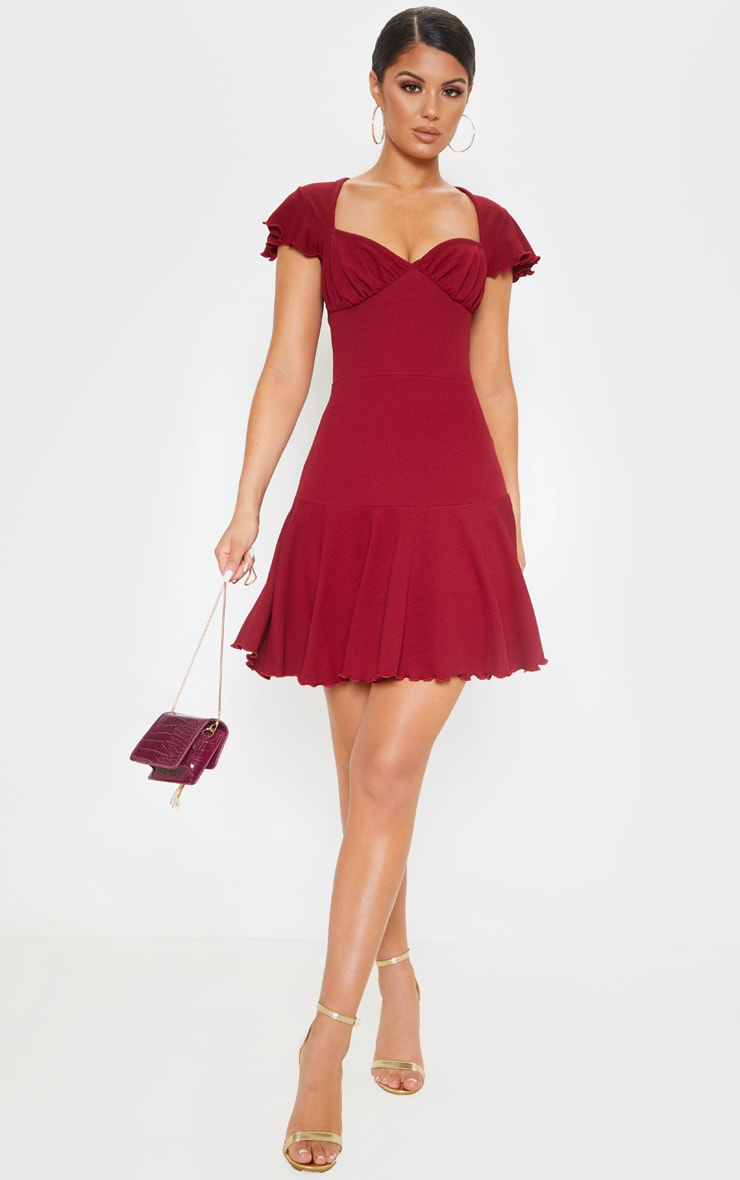 Burgundy Frill Hem Cap Sleeve Skater Dress 1