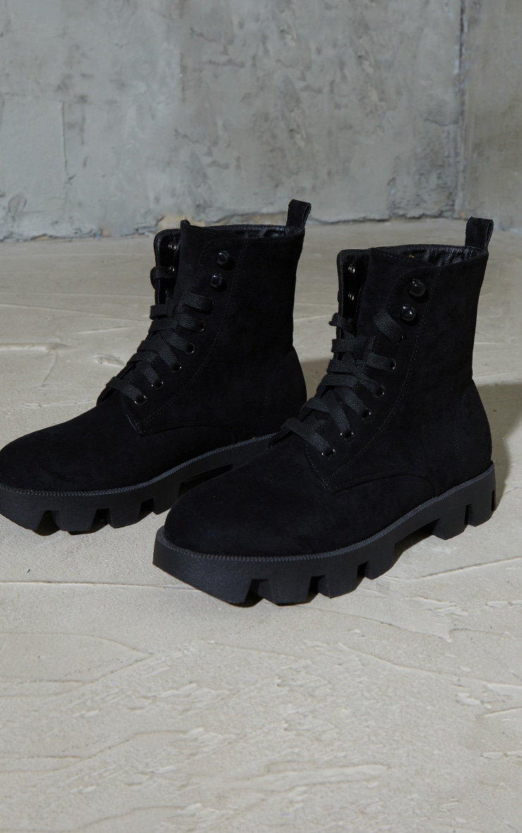 Black Suede Extreme Cleat Chunky Lace Up Ankle Boots 3