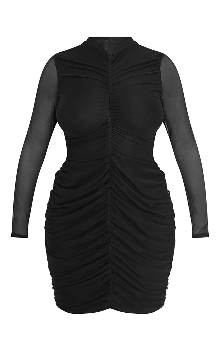 Shape Esemay Black Mesh Ruched Mini Dress 3