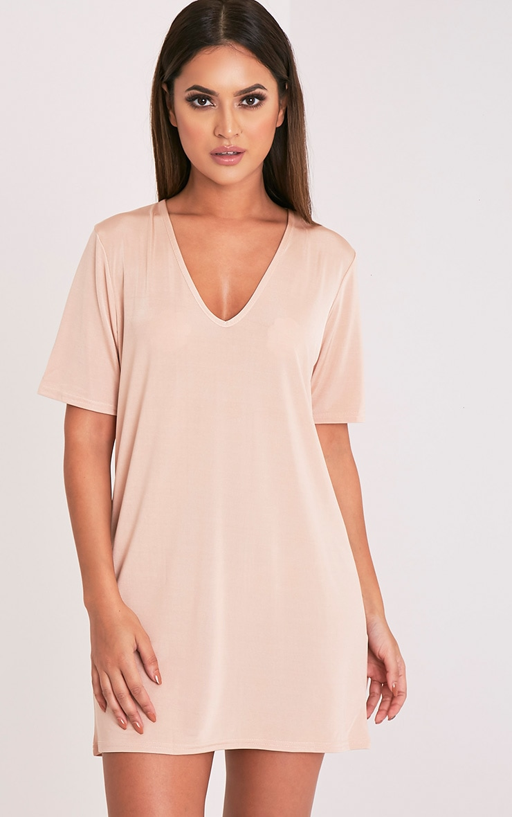Nyla Nude Slinky V Neck T Shirt Dress 1