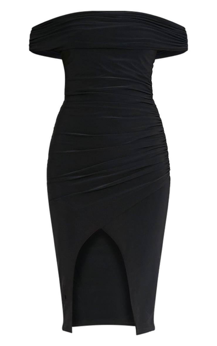 Briany Black Slinky Bardot Midi Dress 3