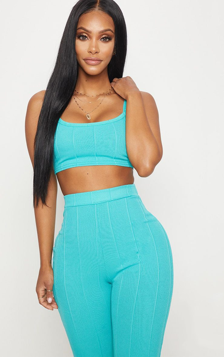 Shape Turquoise Strappy Bandage Crop Top 1