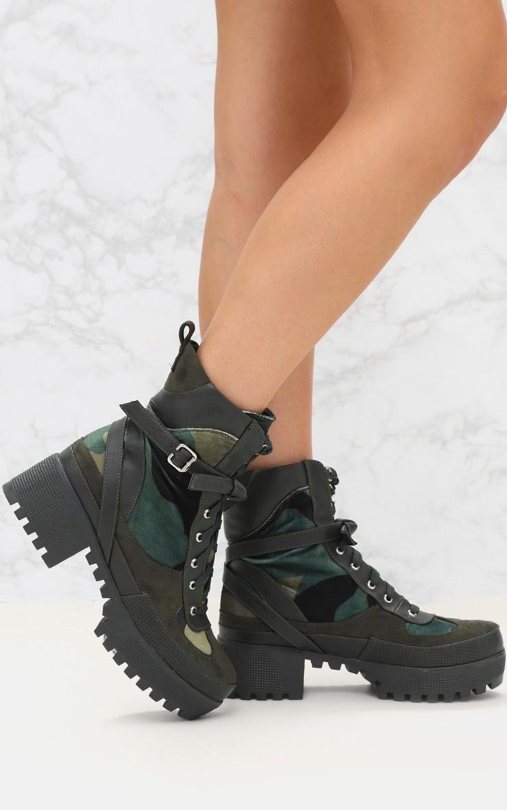 Khaki Camouflage Biker Boots 1