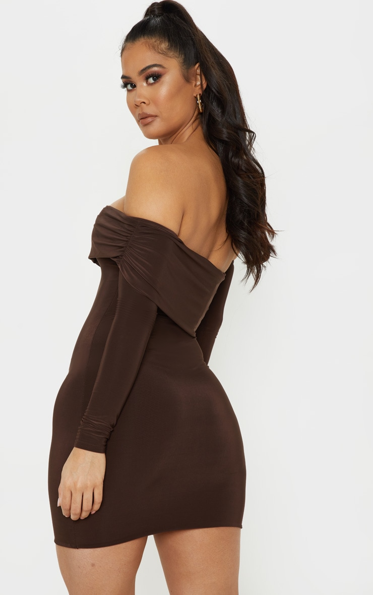 Chocolate Brown Slinky Fold Over Bodycon Dress 2