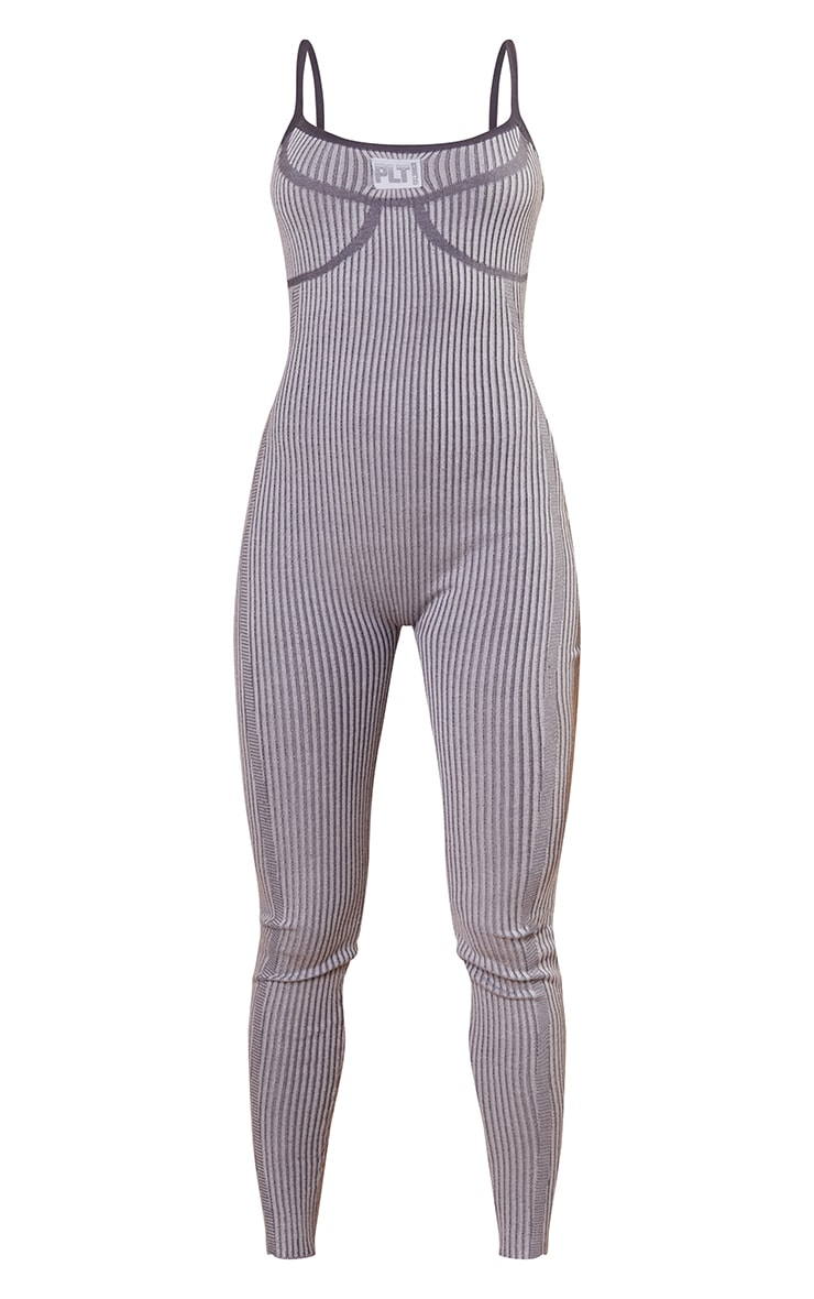 PRETTYLITTLETHING Charcoal Bust Detail Strappy Jumpsuit 5