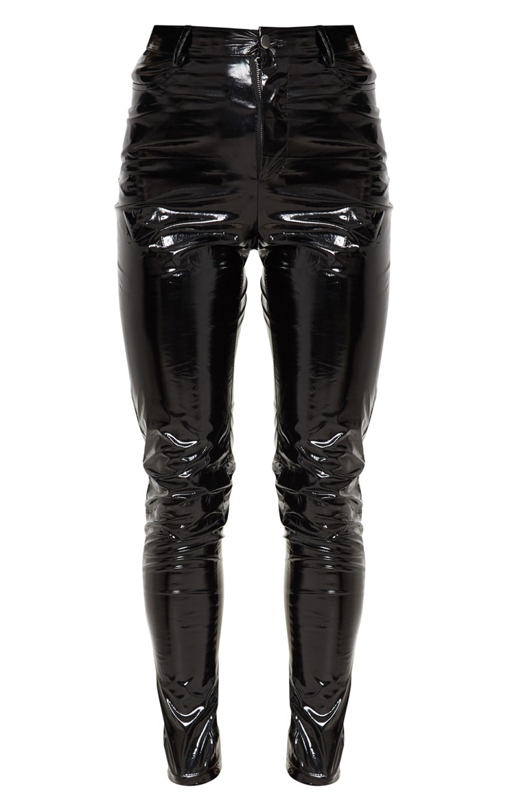 Black Button Front Vinyl Skinny Pants 3