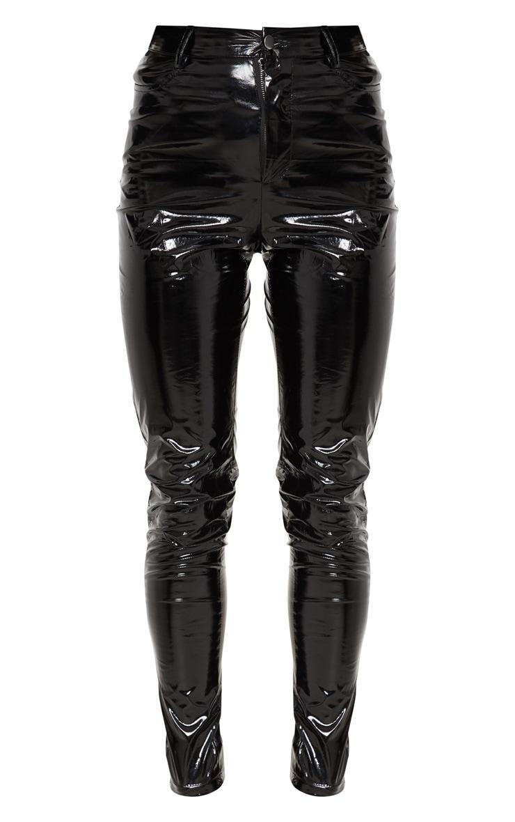 Pantalon skinny en vinyle noir à boutons 3