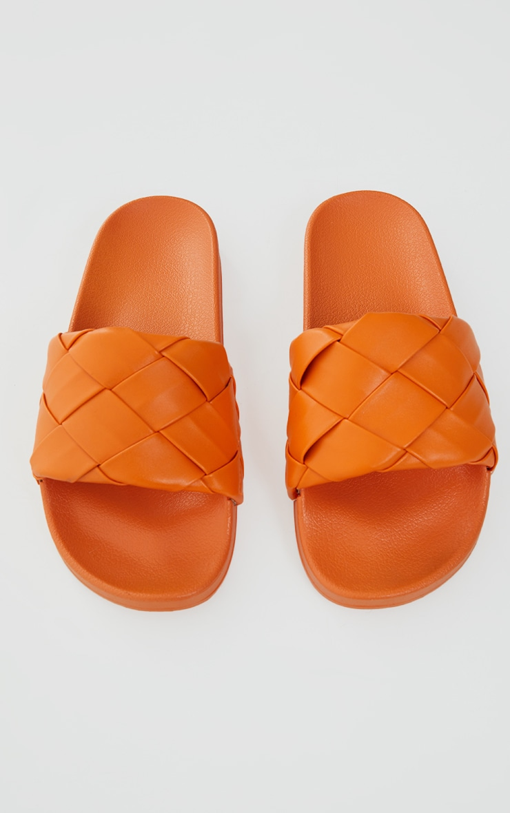 Orange Platted Woven PU Slides 3