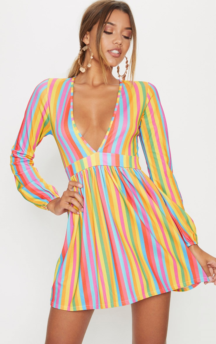 MULTI RAINBOW STRIPE PLUNGE BALLOON SLEEVE SKATER DRESS