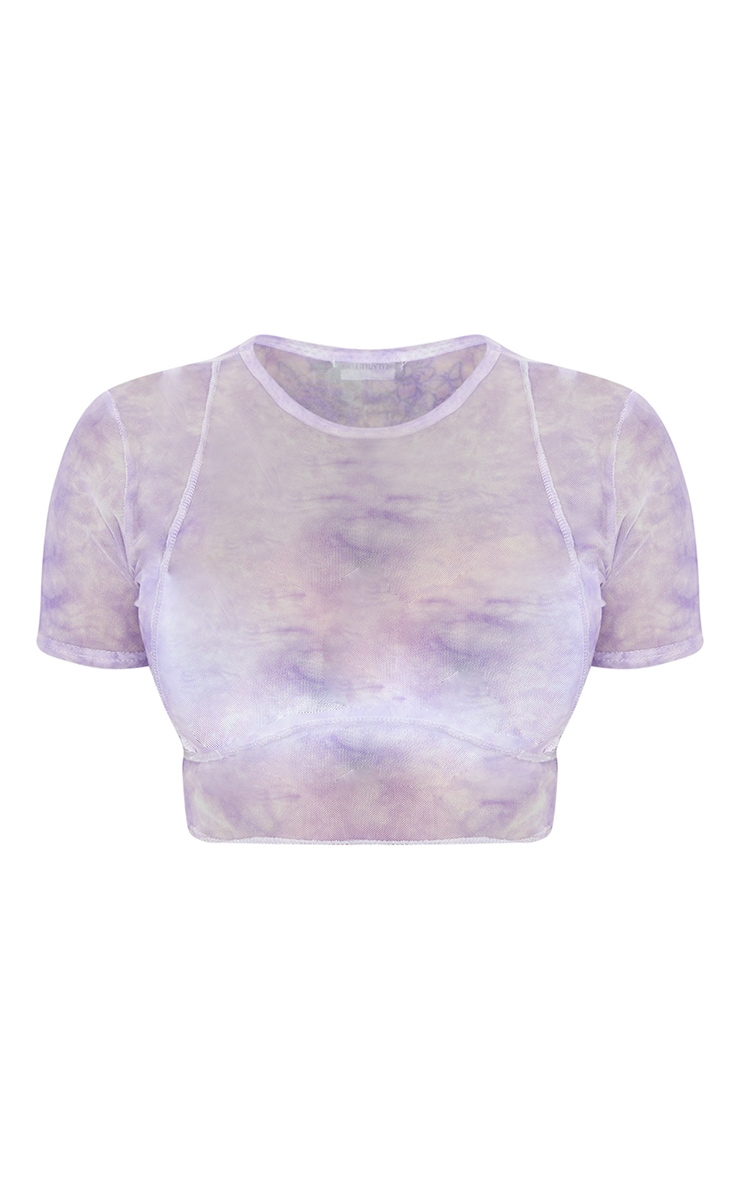 Shape Lilac Tie Dye Sheer Mesh Binding Detail Crop Top 5